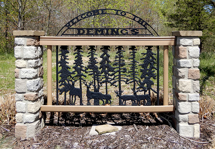 Custom Fabricated Metal Gates and Welcome Signs
