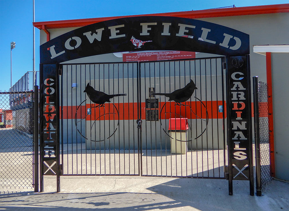 Coldwater Cardinals entry gate, installed at Lowe Field