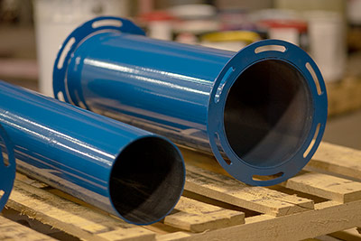 Freshly painted fabricated metal pipe